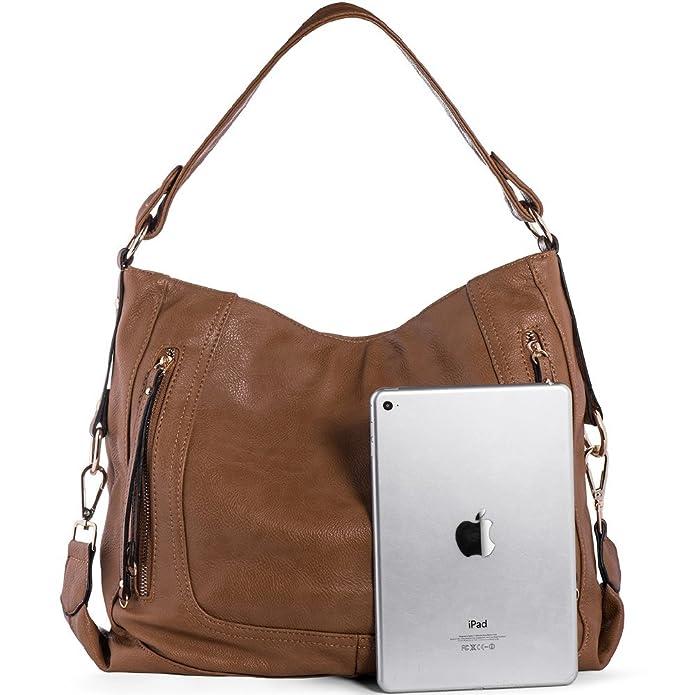 7446f8c412bd1 UTAKE Damen Handtasche Umhängetaschen PU Leder Schultertaschen Frauen  Handtaschen Braun Groß 38 30 12 cm (B H T)  Amazon.de  Schuhe   Handtaschen