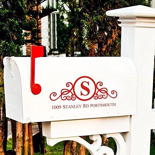 MairGwall Mailbox Vinyl Sticker Lettering Decal Custom Design Home Mailbox Address Decal Sticker With Floral (Custom Mailbox Lettering)