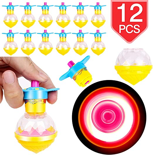 PROLOSO 12 Piezas Spinning Tops Light Up LED Spin Toys Giroscopio ...