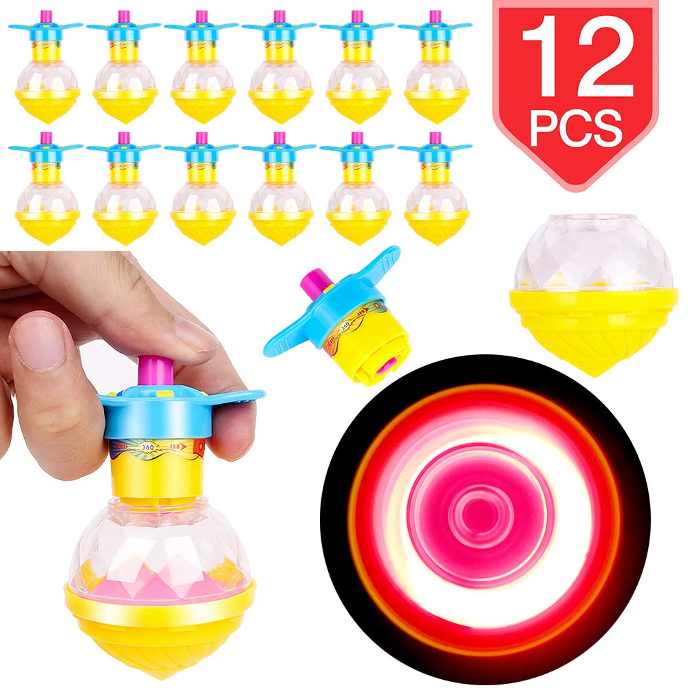 PROLOSO 12 Pcs Spinning Tops Light Up LED Spin Toys Flashing Gyro Glow in The Dark Party Favors by PROLOSO