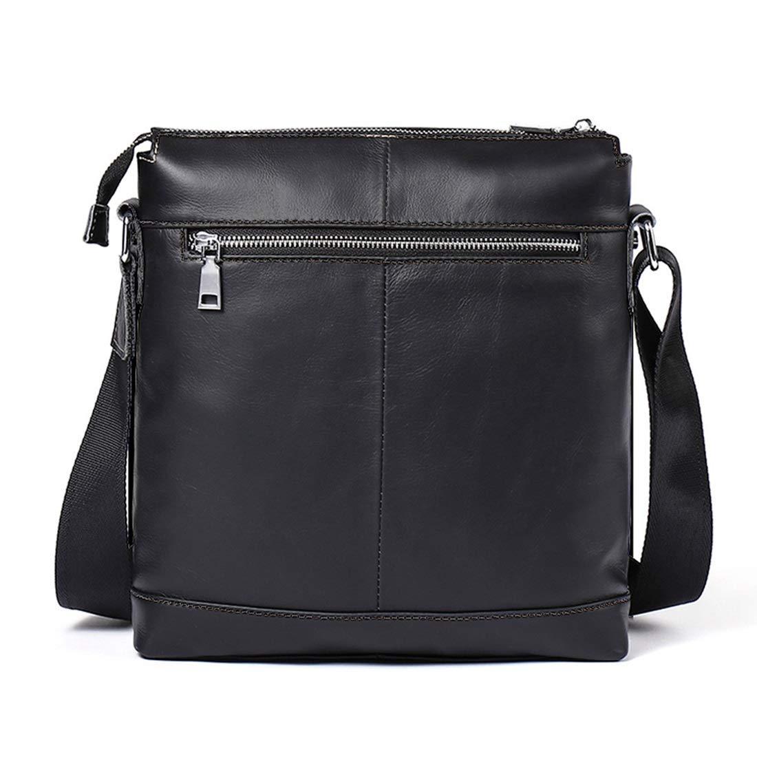 KRPENRIO Mens Messenger Shoulder Bag Vintage Leather Briefcase Crossbody Day Bag for School and Work Color : Black