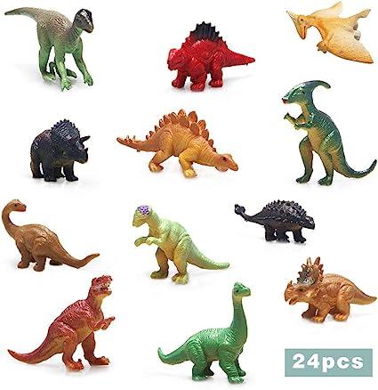 24Pcs Plastic Lifelike Dinosaur Model Figures Animals Toys Party Bag Fillers
