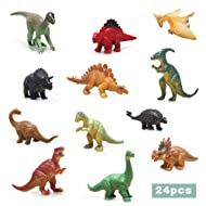 24pcs Mini Dinosaurs and Dinosaur Skeleton, Assorted Dinosaur Party Supplies for Girls Boys Ages 3 and Up