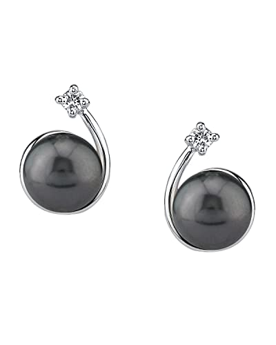 THE PEARL SOURCE 8-9mm Black Tahitian South Sea Cultured Pearl Cubic Zirconia Shooting Star Earrings for Women