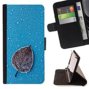 Momo Phone Case / Flip Funda de Cuero Case Cover - Iced Leaf;;;;;;;; - Motorola Moto E ( 2nd Generation )