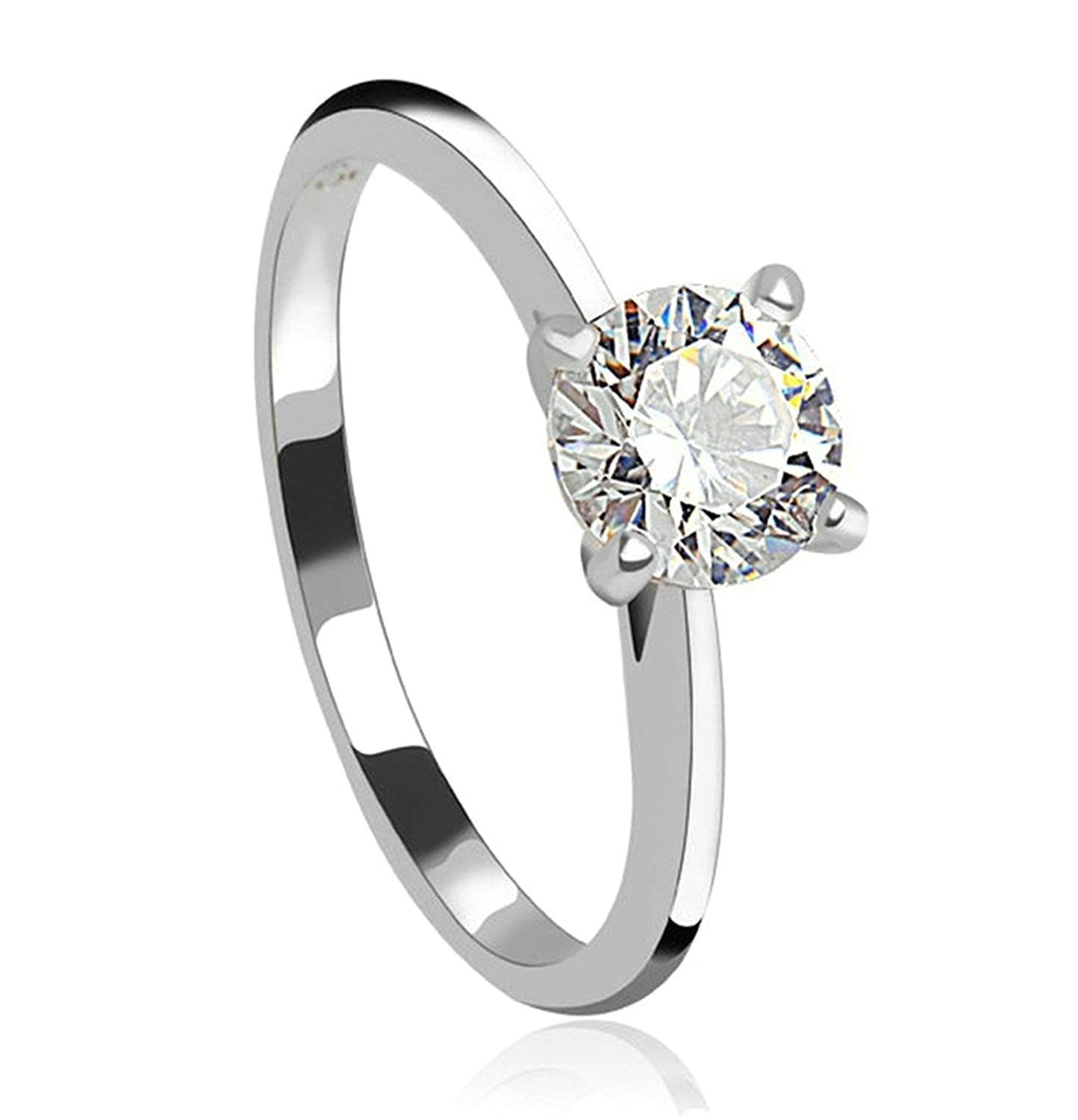 Womens Ladies Silver Plated Wedding Bands Retro Promise Ring Round White Crystal CZ Size 8 Aooaz Jewelry ML169