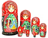 Authentic Russian Hand Painted Nutcracker Set of 7 Pcs Nesting Doll/Matryoshkas Artist Signed