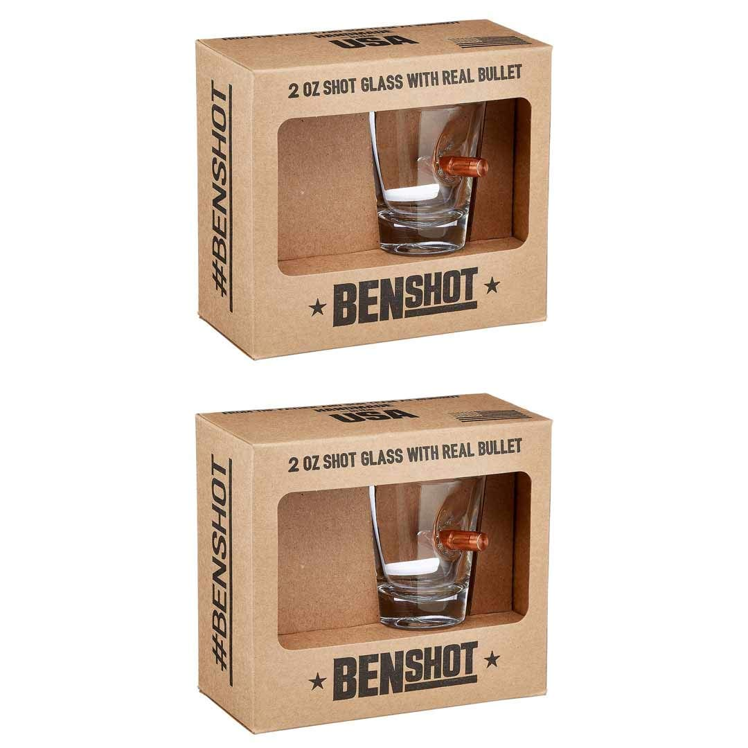 [set of 2] The Original BenShot Shot Glass with Real 0.308 Bullet Bulletproof Made in the USA by Ben Shot USA
