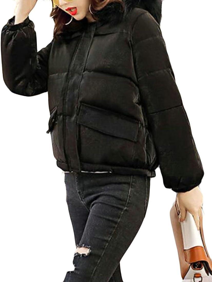 Ptyhk RG Womens Stylish Long Sleeve Faux Fur Collar Hooded Lightweight Down Jacket