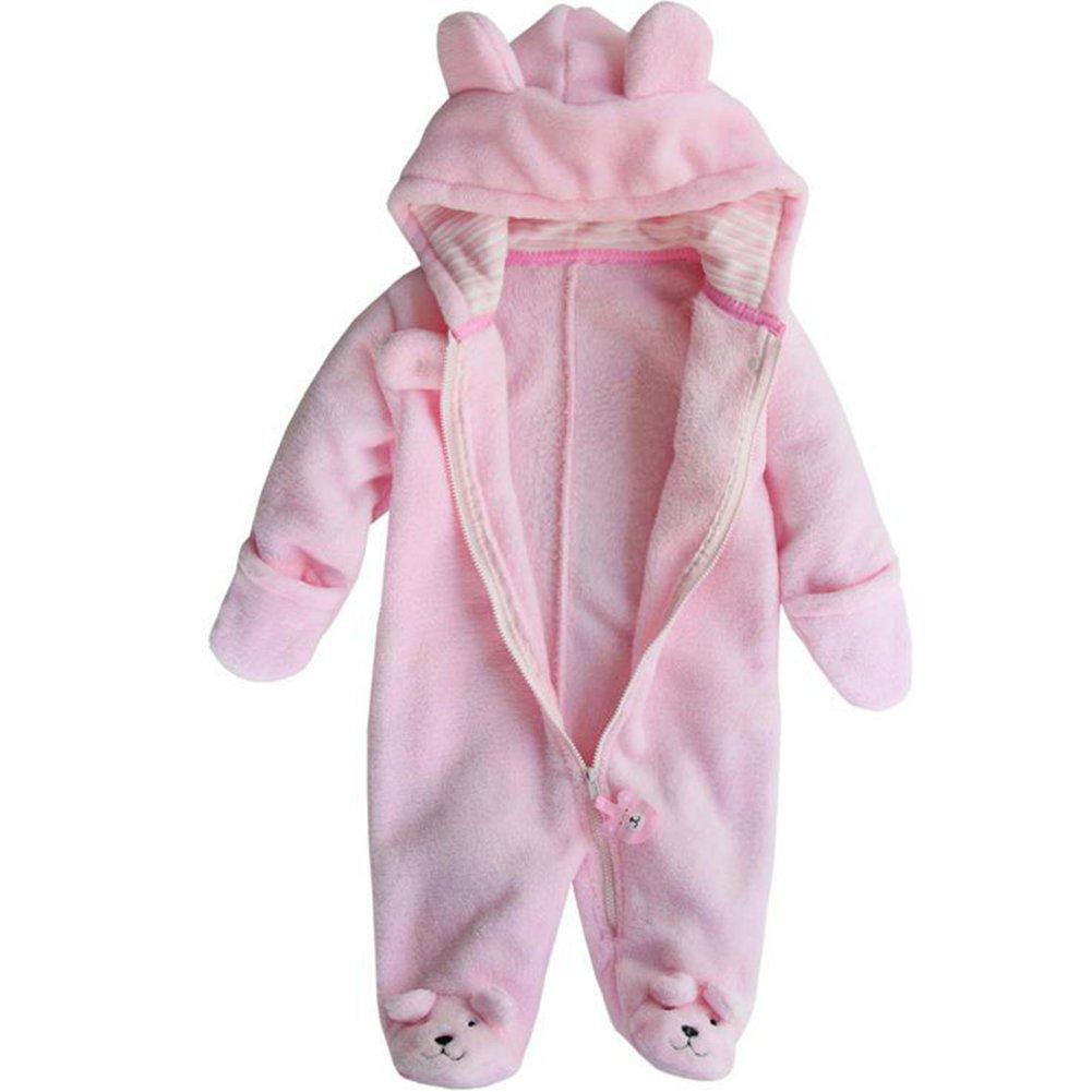 LOSORN ZPY Baby Boy Girl Bodysuit Hooded Fleece Romper Infant Warm Onesies 3-12M