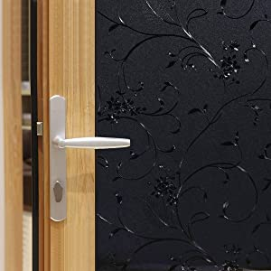 """Jahoot Blackout Window Film Removable, Frosted Glass Tint Non-Adhesive Static Cling Window Cover for Home & Office Privacy, Total Light Blocking, Room Darkening & Day Sleep (Black Wheat, 17.7"""" x78.7)"""