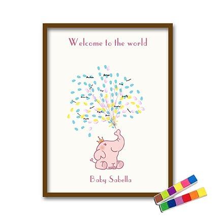 Qiulv Huella Dactilar Firma Elefante Lona Libro De Visitas DIY Globo Animal Pintura Registrarse Impresión del