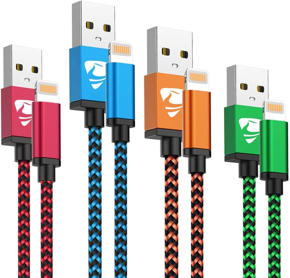 Amazon Com Iphone Charger Cord 4pack Aioneus Lightning Cable Fast Charging Cable Nylon Braided Phone Charging Cord Compatible With Iphone 12 Pro 11 Pro Max 10 Xr Xs Max 8 7 6 6s 5c Se 2020 Ipad