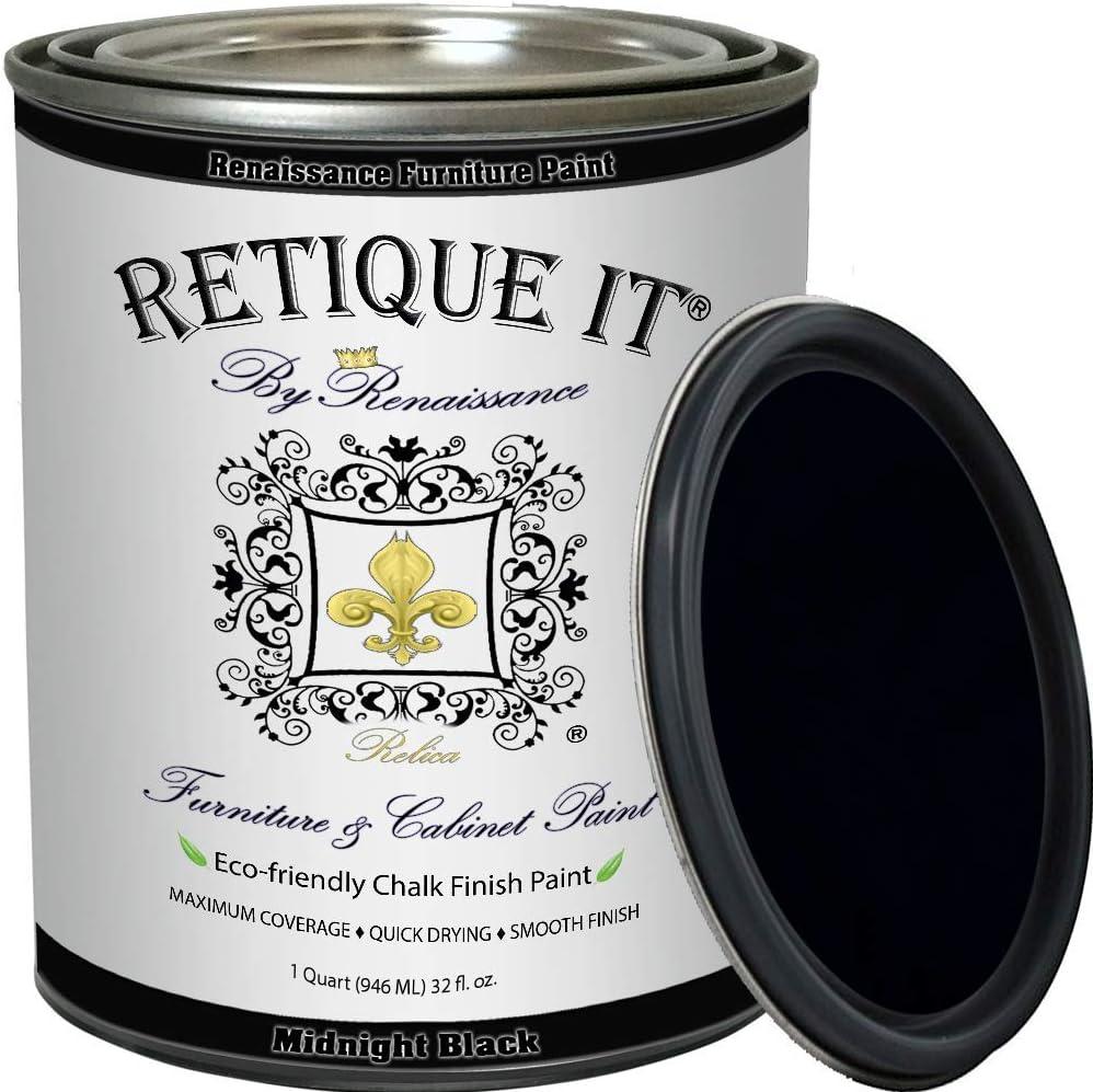 Retique It Chalk Furniture Paint by Renaissance DIY, 32 oz (Quart), 08 Midnight Black