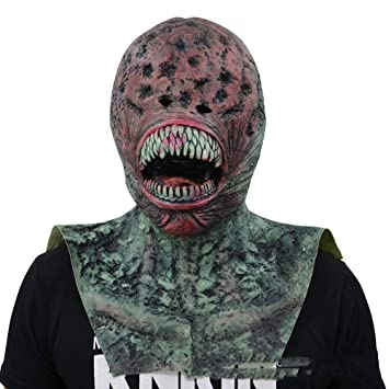 Halloween Máscara Látex Sombrero Horror Fantasma Rostro Props Alien Verde Monstruo Diablo Halloween Party Traje Decoraciones