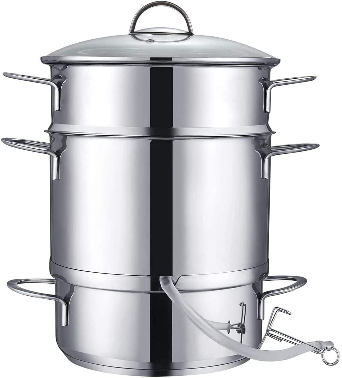 Fracoda 26cm 11-Quart Juicer Steamer,Stainless Steel Fruit Vegetables Steamer for Food With Glass Lid Hose With Clamp Loop Handles,Perfect Home Kitchen Cookware