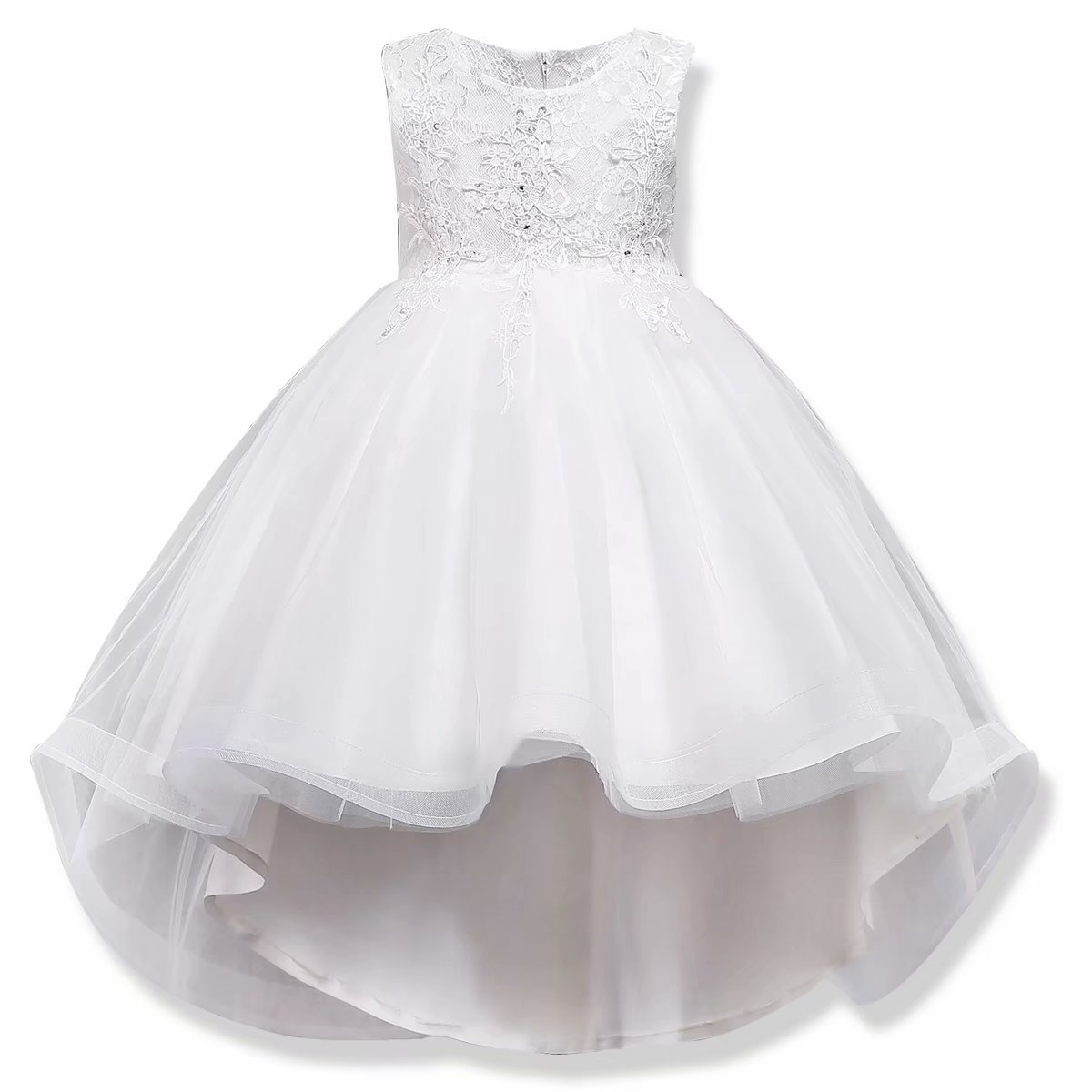 AYOMIS Girls Lace Princess Party Formal Dresses Elegant Pageant Wedding Bridesmaid Prom High-Low Gown (White - Full,5-6Y)