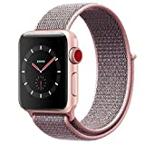 Vati Watch Sport Loop Band, Fastener Adjustable Closure Wrist Strap Lightweight Breathable Nylon Replacement Band for Apple Watch Nike+, Series 3/2/1, Sport, Edition (38MM, Pale Pink & Pink Sand)