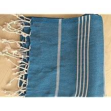 Turkish Peshtemal Towels Bath Sauna Beach Gym Pool Yoga Blanket Fouta Towels 100% Natural Turkish Cotton (Turquoise)