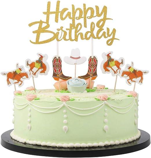 Astounding Amazon Com Lveud Paper Jam Cowboy Theme 18Pc Happy Birthday Cake Funny Birthday Cards Online Necthendildamsfinfo