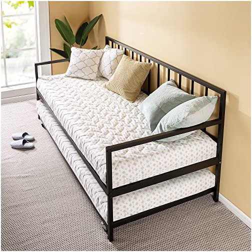 Zinus Eden Twin Daybed and Trundle Set / Premium Steel Slat Support / Daybed and Roll Out Trundle Accommodate Twin Size…