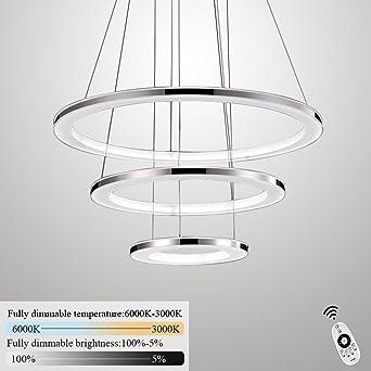 ZMH Moderne LED Pendelleuchte esstisch 96W Led 3-Ring led dimmbar ...