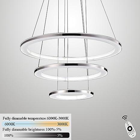 Lámpara colgante LED I ZMH Lámpara de techo Araña Comedor 3- anillos con tecnología LED dimmable 96W Iluminación colgante regulable LED Adecuado para ...