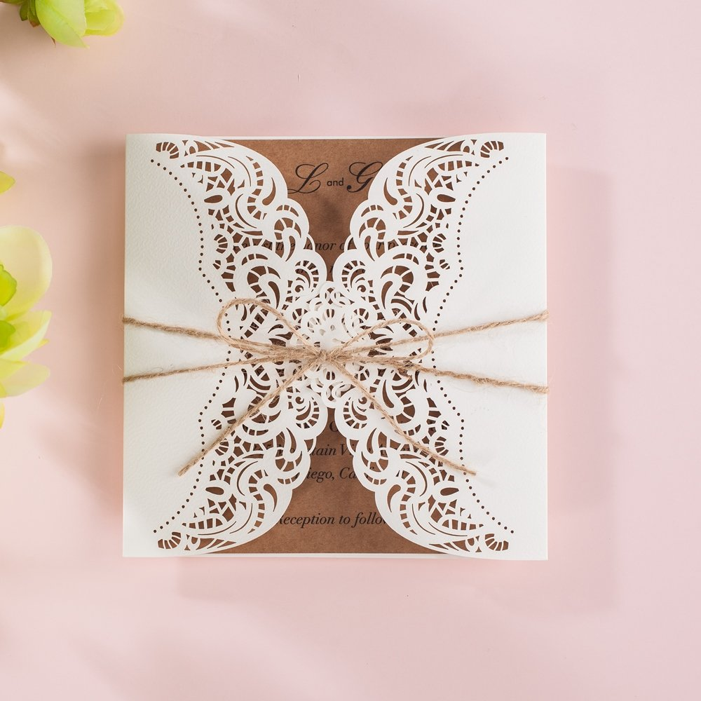 Wishmade 100x Laser Cut Invitations Cards Kit With Rustic Rope For Wedding Party Birthday Occasion AW7512 by Wishmade