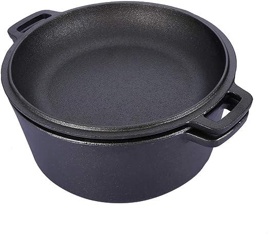 Olla holandesa 2 en 1 para horno holandés de hierro fundido ...