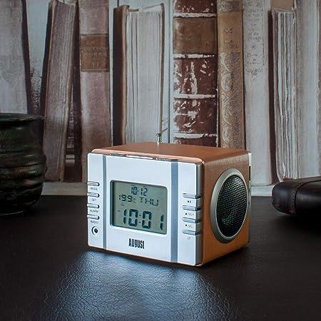 August MB300 Radiodespertadores Sistema Estéreo con Altavoz - FM Reloj de Radio con Función Alarma / Sleep Timer / Termómetro - Radio Despertador Leer ...