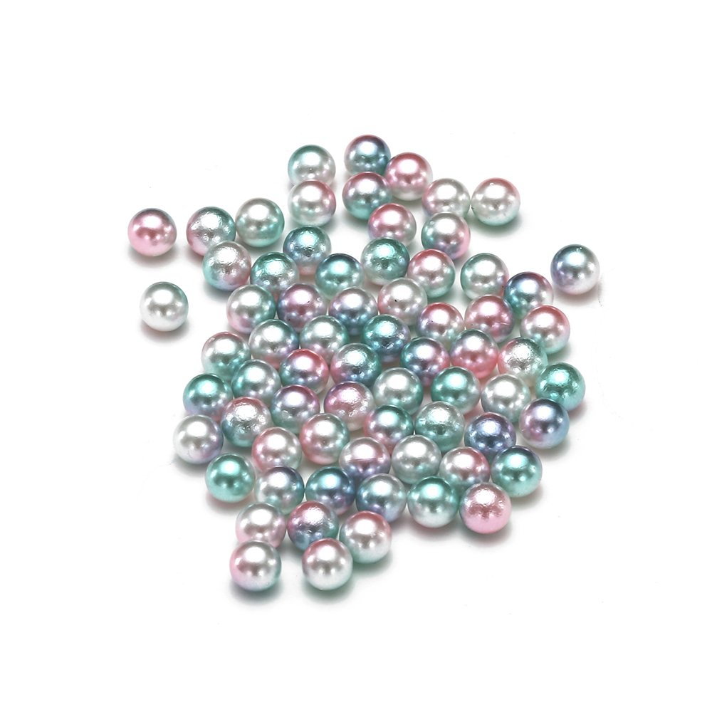 Nizi Jewelry RainBow Color No Hole Round Pearls 3-6mm Imitation Pearls Craft DIY Wedding Dresses Decorations Nail Art Green Rainbow 3mm 10000pcs