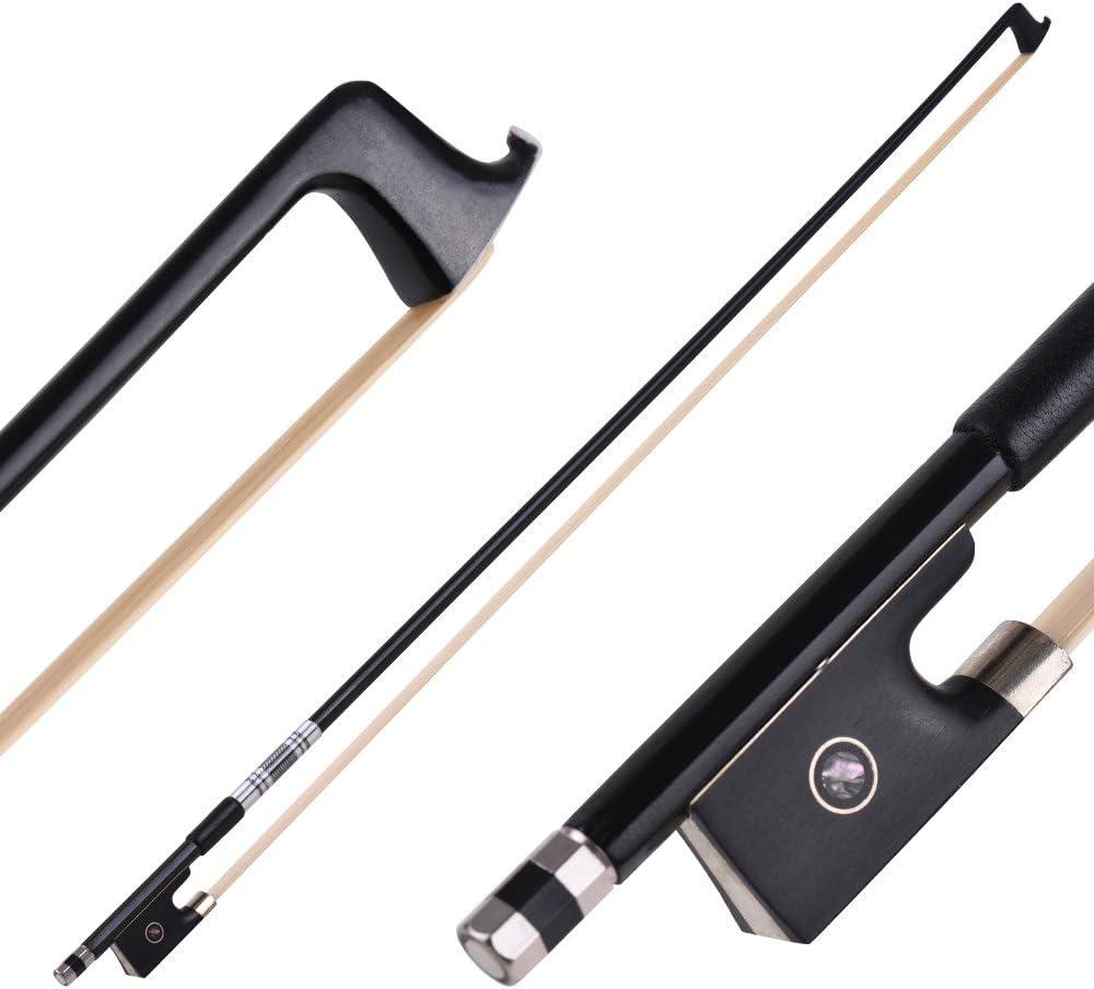 ammoon Carbon Fiber 4//4 Full Size Violin Fiddle Circle Style Bow Ebony Frog