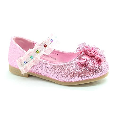 00181cad20d Little Girls Pink Glitter Lace Sequin Trim Flower Dress Shoes 5 Toddler