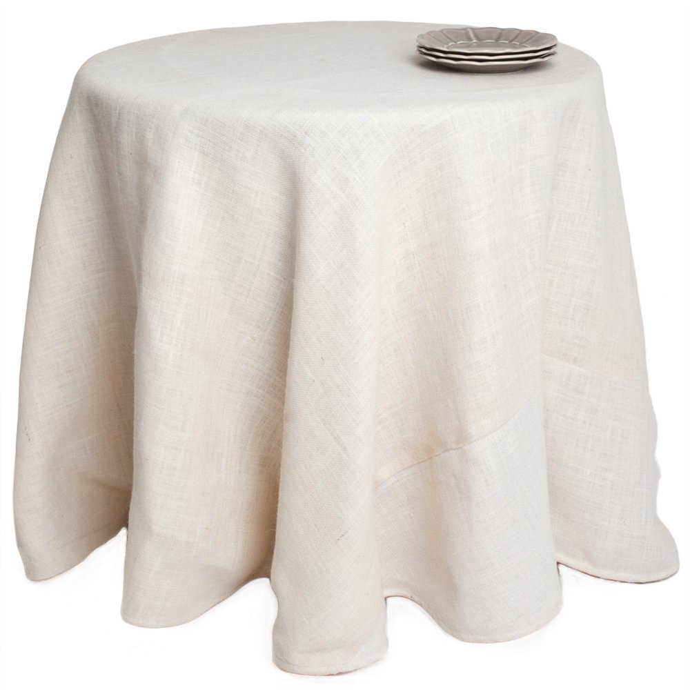 Single Piece Ivory Tablecloth ( 120''), Classic Contemporary Style, Jute Material, Solid Design Pattern, Round Shape, Round Burlap Tablecloth, Elegance, Suitable For Everyday, Off White
