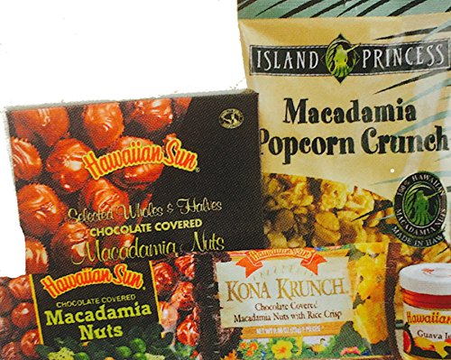 Hawaiian Sun Aloha Goodie Gift Zippered Tote Bag (Green Trimmed Sm. Tote, 5 Items) - Green Chocolate Covered Gift Box