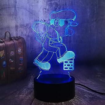 LXXYD Ilusión Óptica 3D Juego De Luz Nocturna Ligera Súper Mario ...