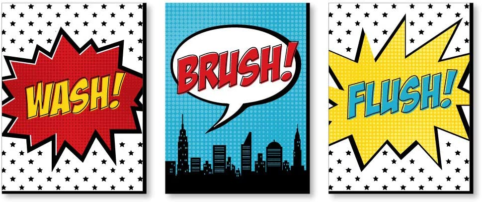 Big Dot of Happiness Bam Superhero - Kids Bathroom Rules Wall Art - 7.5 x 10 inches - Set of 3 Signs - Wash, Brush, Flush