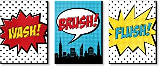 product image for Big Dot of Happiness Bam Superhero - Kids Bathroom Rules Wall Art - 7.5 x 10 inches - Set of 3 Signs - Wash, Brush, Flush