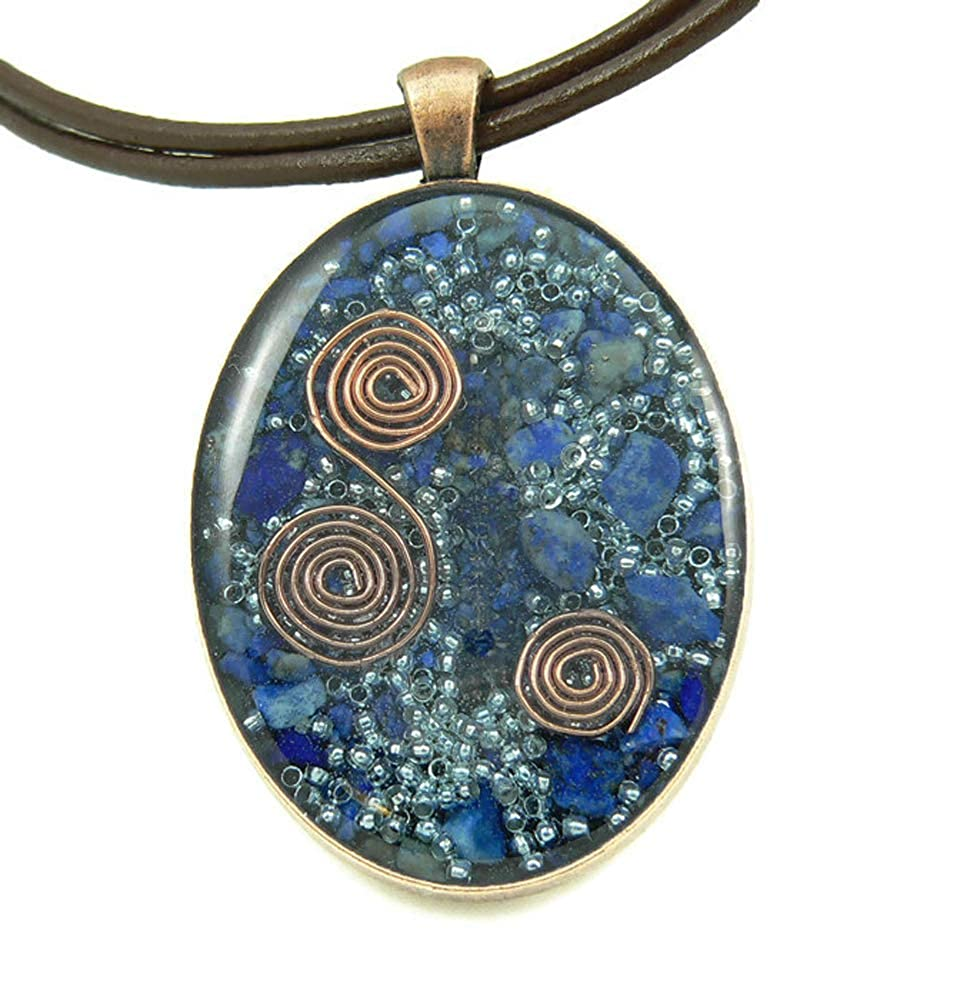 LKS Originals Orgone Energy Large Oval Necklace in Copper with Lapis