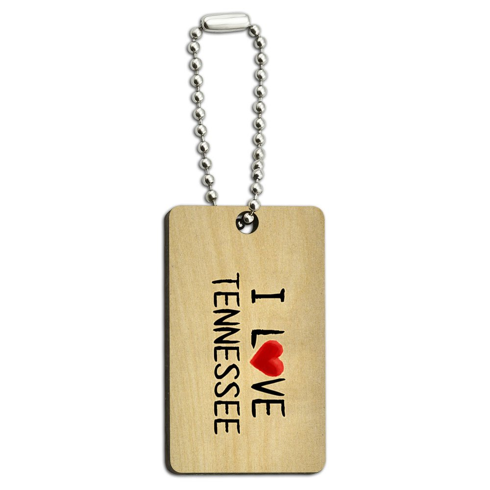 I Love Tennessee Written on Paper Wood Wooden Rectangle Key Chain