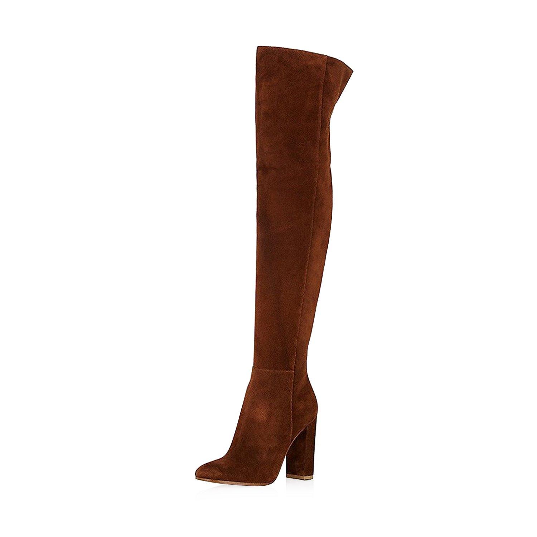 8b6ffe839b0 Amazon.com | FSJ Women Over The Knee Chunky High Heels Stretch Thigh ...