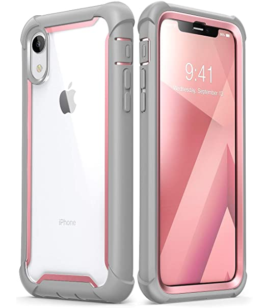 reputable site aa9ce 6f80d i-Blason Ares Full-Body Rugged Clear Bumper Case for iPhone XR 2018  Release, Pink, 6.1