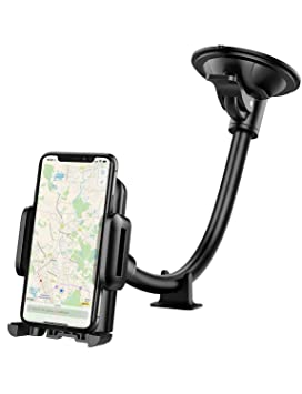 reputable site d29ad a6972 Car Phone Mount, Mpow Windscreen Car Phone Holder Grip Flex Universal  Windshield Car Cradle with Extra Dashboard Base Long Arm Holder for iPhone  Xs ...