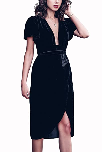 Velvet Elegant Deep V Neck Short Sleeve High Low Midi Dresses