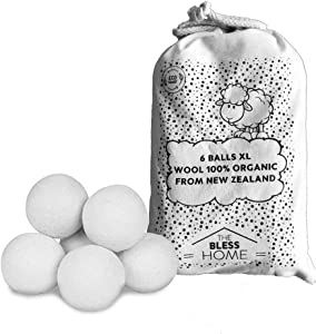 Reusable Wool Dryer Balls, Pack 6-Balls White XL, 100% Organic, Softeners, No Toxic, Ecological, Chemical Free and sintetics. Reduce Drying up to 30%. New Zealand Natural Sheep Wool - The Bless Home