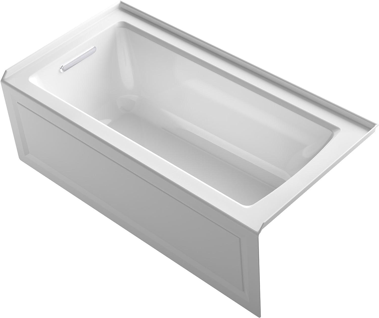 "KOHLER K-1946-LA-0 Alcove Bath with Integral Apron, Tile Flange and Left Hand Drain, 60"" x 30"", White"