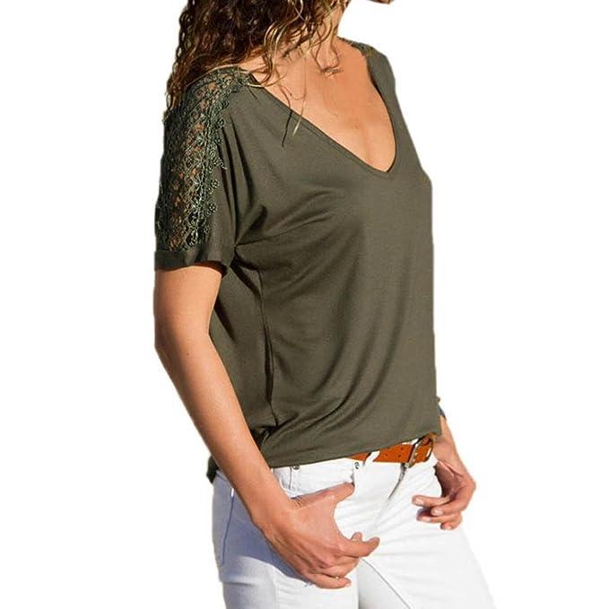 Mode Damen Langärmlig V-Ausschnitt Lockere BLUSE Freizeithemd Sommertops T-Shirt