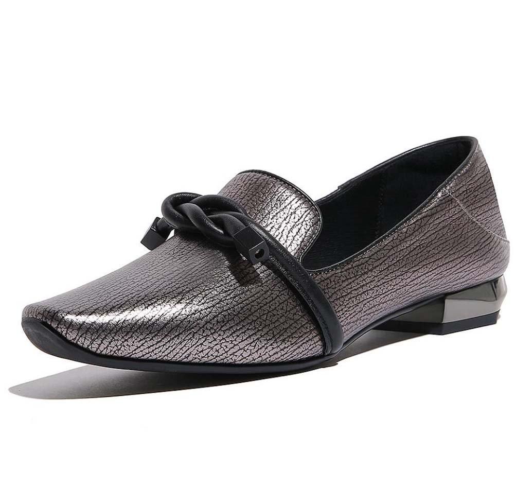 TALLA 34. Pump 2cm Chunkly Heel Square Toe Casual zapatos de cuero Moccasin Loafer Court zapatos Zapatos de vestir Mujer Moda Pure Bowknot color Decoración zapatos perezoso Eu Tamaño 34-42