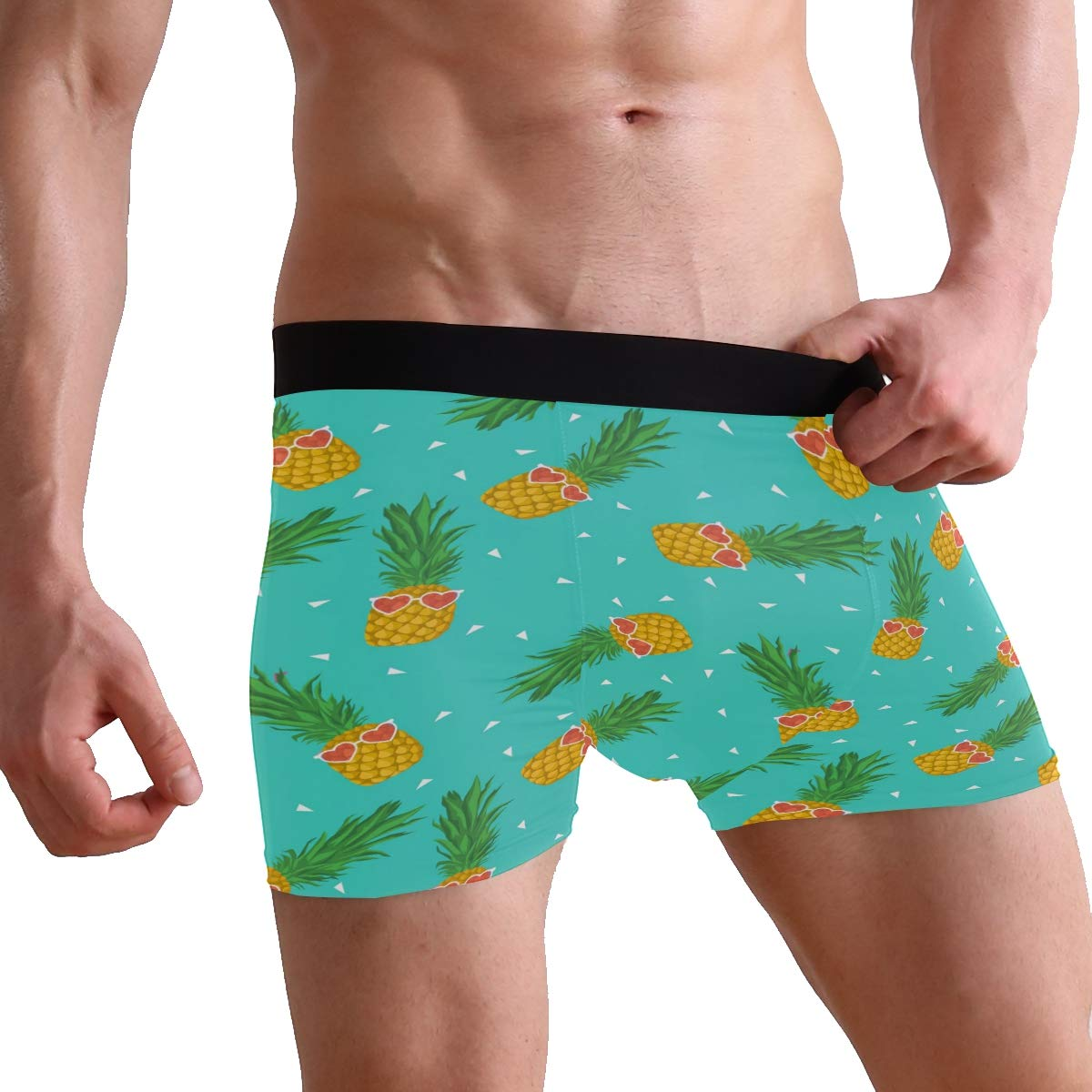 ZZKKO Pineapple with Glasses Mens Boxer Briefs Underwear Breathable Stretch Boxer Trunk with Pouch S-XL