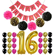 16th BIRTHDAY PARTY SUPPLIES DECORATIONS - Hot Pink Happy Birthday Banner Sign, Number 16 Mylar Balloon,Pink Gold Black Latex Ballon, Great Sweet 16 Party Supplies Free Printable Bday Checklist